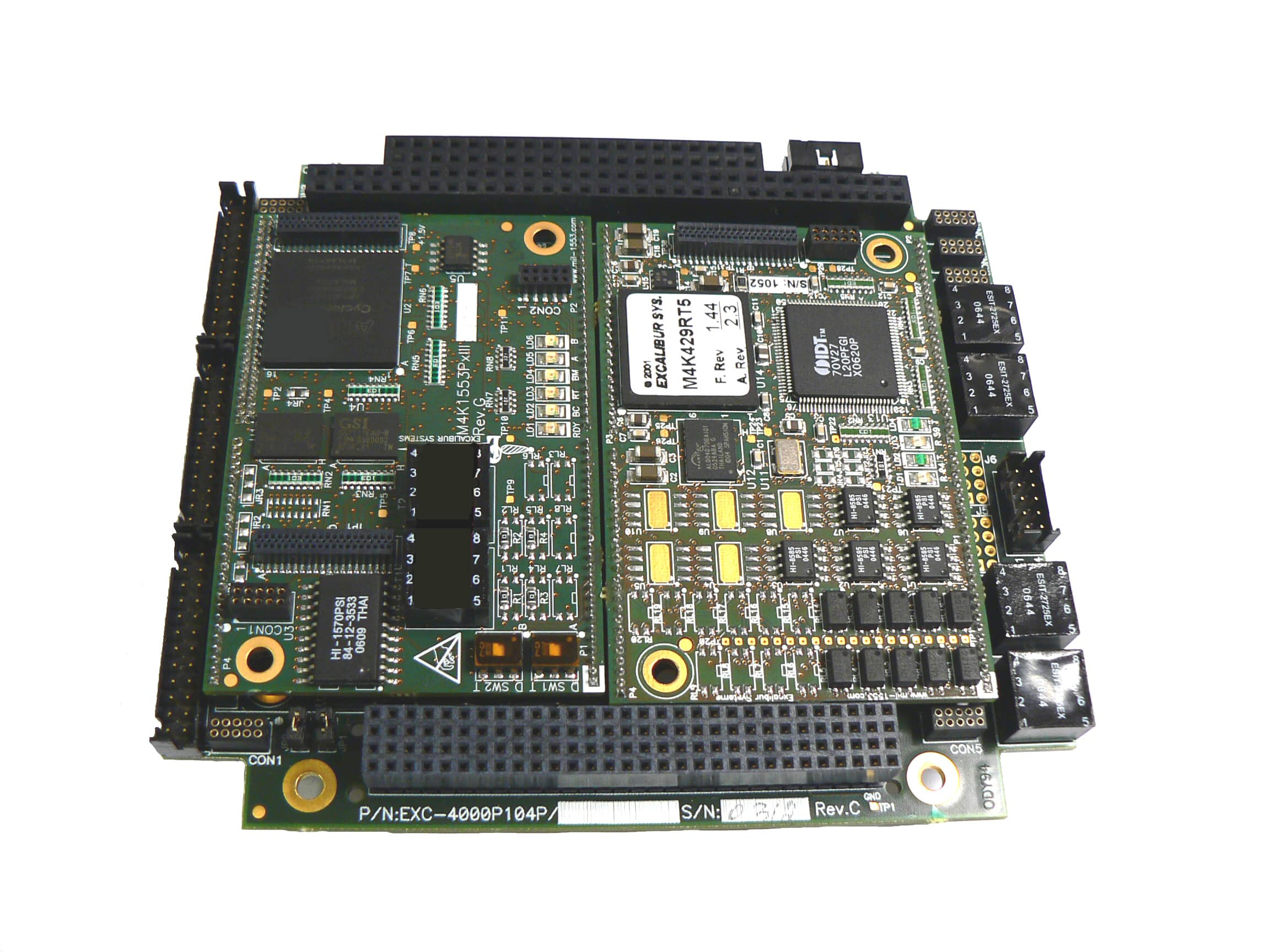 EXC-4000P104Plus/xx card & M4K1553Px(S) module - test and simulation board for PC/104 Plus systems